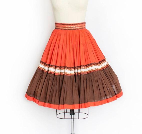 1950s Circle Skirt Orange Brown Ric Rac Squaw Smal