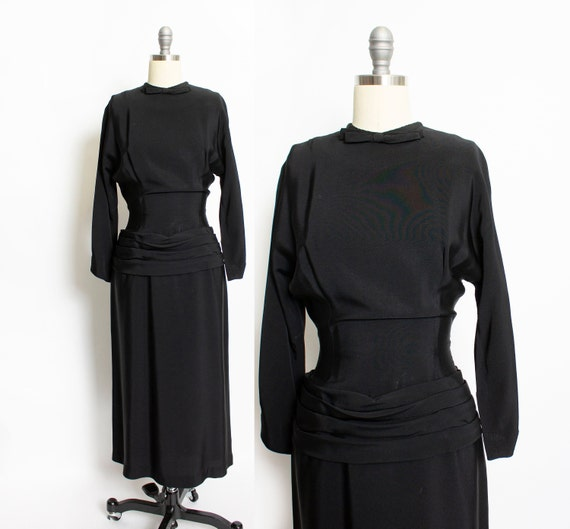 1940s Dress Black Rayon Crepe Pleated 50s M
