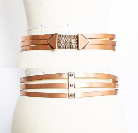 Vintage 1950s COPPER Belt RENOIR Metal Waist Cinch