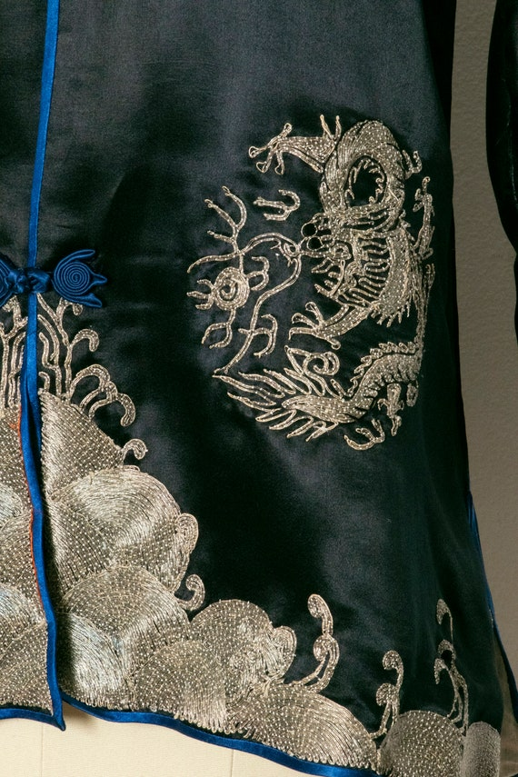 1950s Jacket Chinese Silk Embroidered Robe S - image 6
