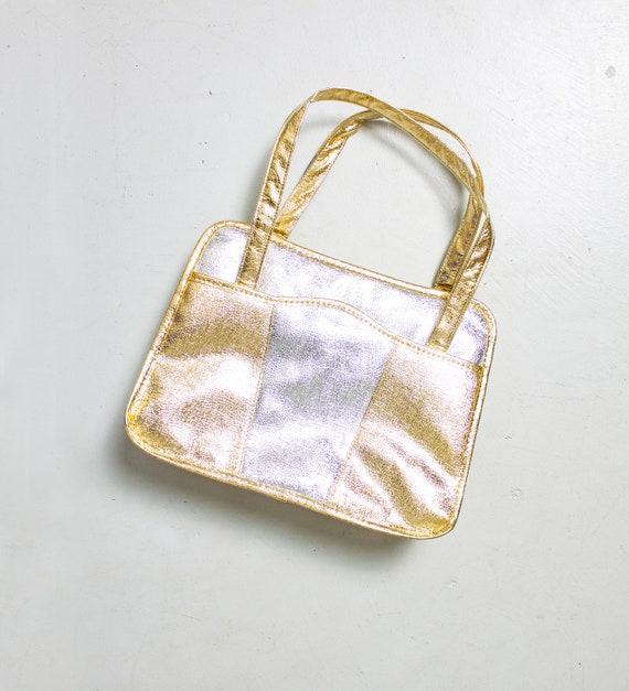 Vintage 1960s Metallic Purse Silver Gold Patchwork