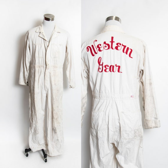 Vintage 1950s Cotton Coveralls Chain Stitched Herr