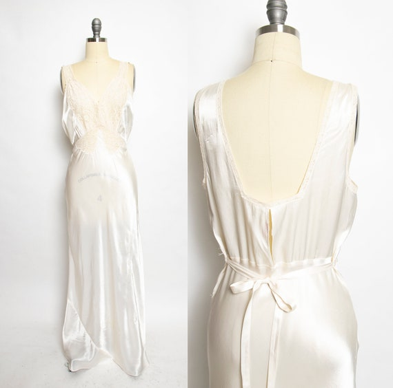 1940s Nightgown Ivory Rayon Lace Full Length Slip