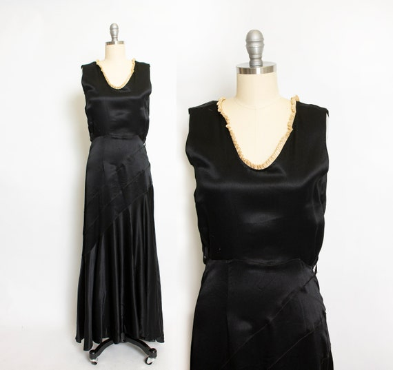 1930s Dress Black Satin Full Length Gown XXS