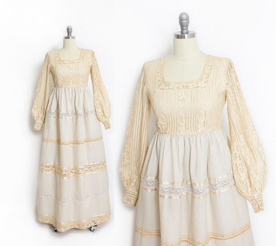1960s Maxi Dress Boho Lace Wedding Gown Beige Smal