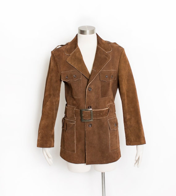 Vintage 1960s Suede Jacket Mod Brown Leather 70s S