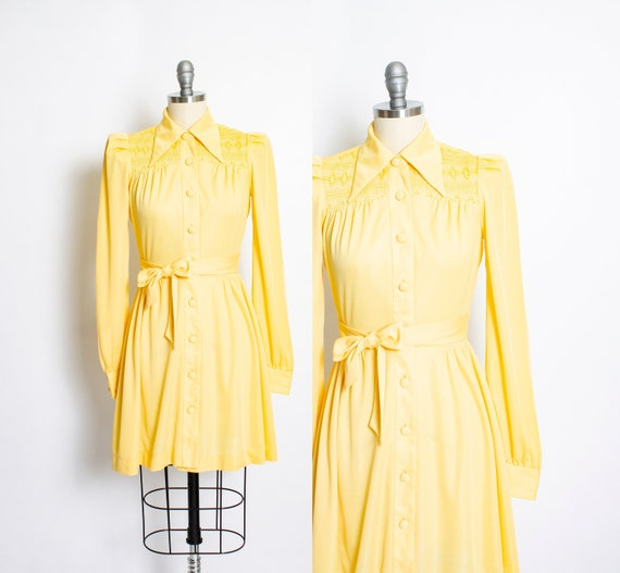 1970s Dress Young Innocent Yellow Smocked 40s does