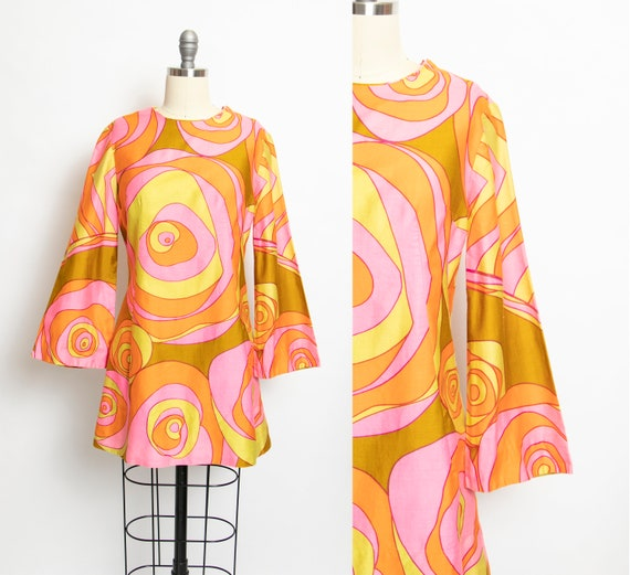 Vintage 1960s Dress Mini Mod Printed Polished Cott