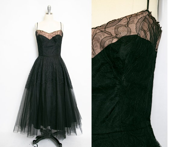 1950s Dress Black Lace Sweetheart Full Skirt Small