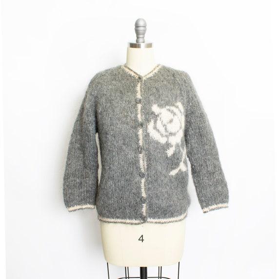 Vintage 1950s Sweater Italian Hand Knit Wool Mohai