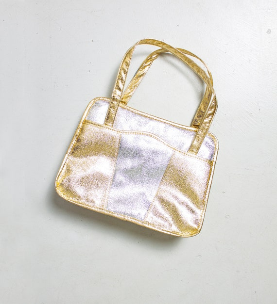 Vintage 1960s Metallic Purse Silver Gold Patchwork