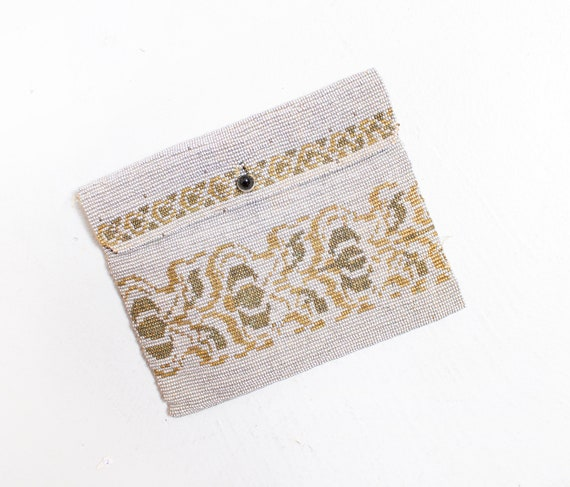 Vintage 1920s Beaded Mini Coin Purse Silver Gold B