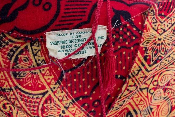 1970s Dress Ethnic Cotton Red Ethnic Boho S - image 7