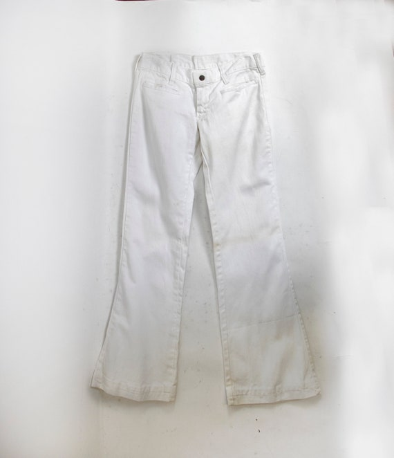 Vintage 1970s Sailor Pants White Cotton Flare Bell