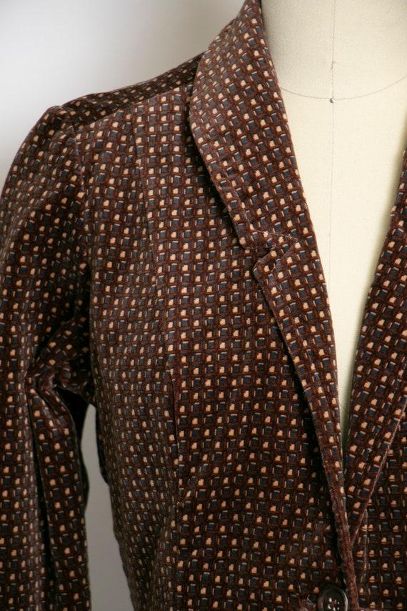 1990s Velvet Printed Suit Set Pants Blazer S/M - image 8