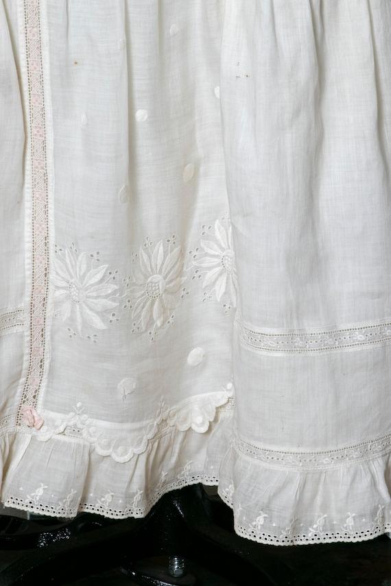 Victorian Antique Skirt Edwardian Cotton Embroide… - image 6