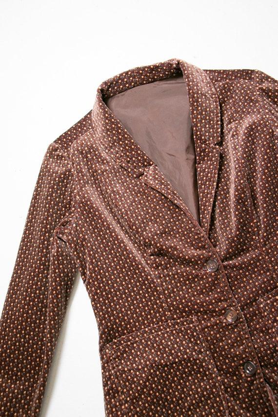 1990s Velvet Printed Suit Set Pants Blazer S/M - image 6