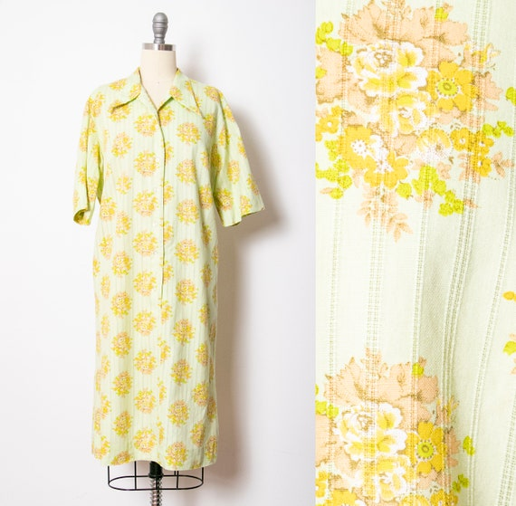 1970s Shirt Dress Green Floral Shift M - image 1