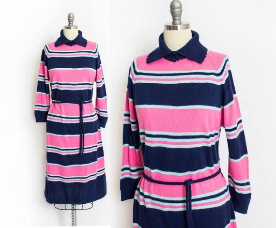 Vintage 1970s Sweater Dress Wool Pink Blue Striped