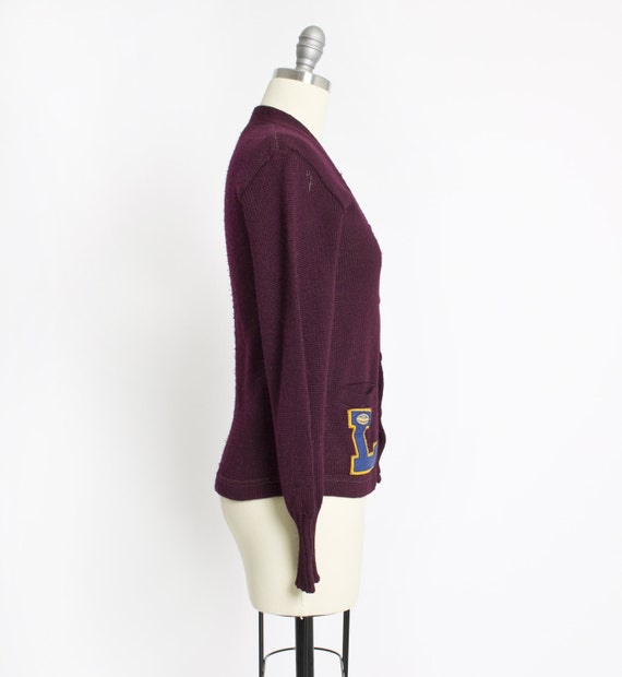 Vintage 50s Varsity Sweater Burgundy Wool Knit Le… - image 4