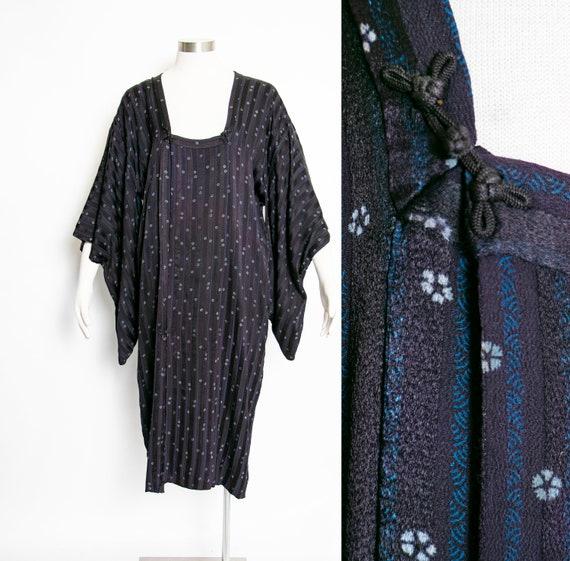 1950s Silk Lounge Kimono Robe Michiyuki Japanese J