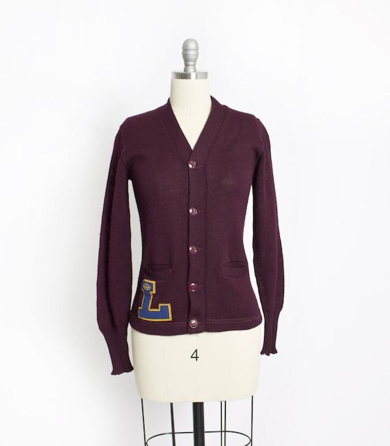 Vintage 50s Varsity Sweater Burgundy Wool Knit Let