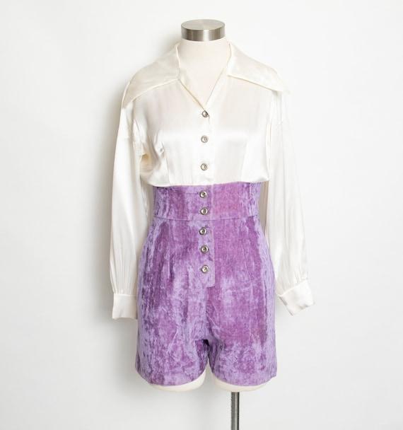 1970s ROMPER Polka Dot Shorts Jumpsuit Medium
