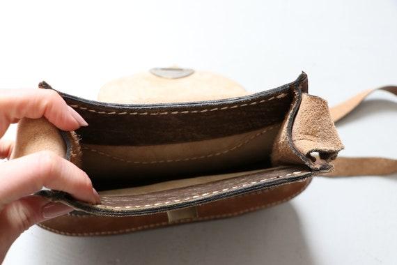 1970s Boho Purse Brown Leather Shoulder Bag - image 6