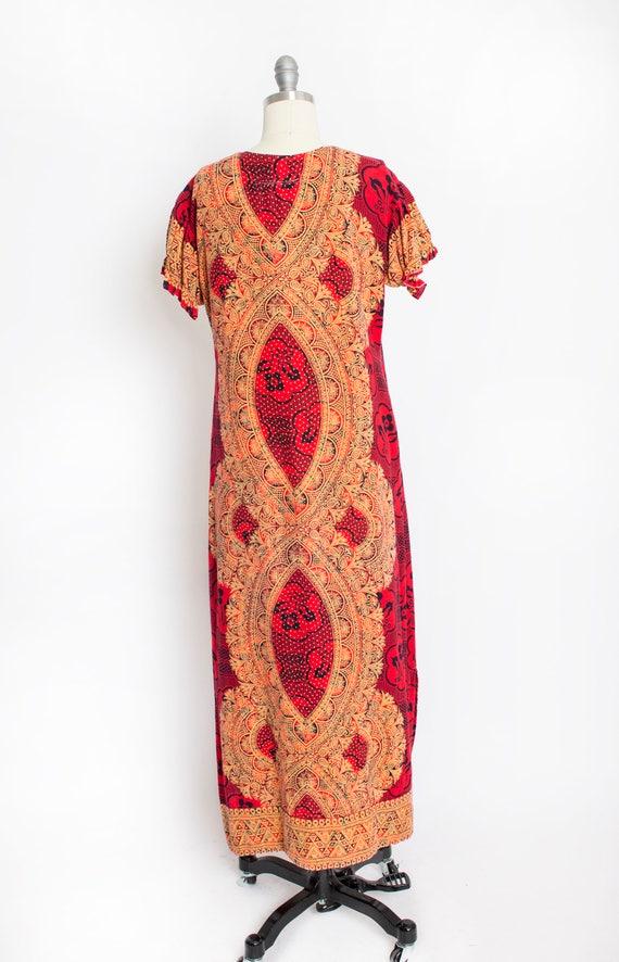 1970s Dress Ethnic Cotton Red Ethnic Boho S - image 4