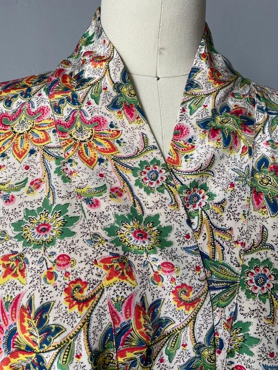 1940s Robe Rayon Paisley Loungewear S - image 6