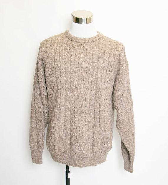 1970s Wool Fisherman Sweater Irish Brown Large