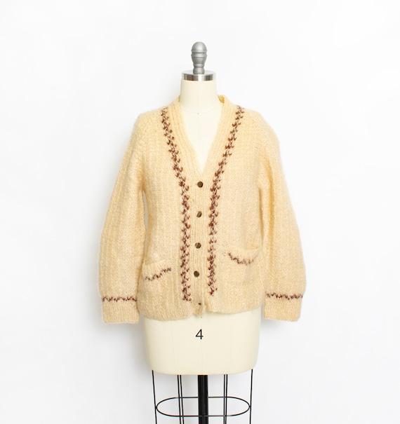 1950s Sweater Wool Mohair Cream Cardigan 60s Small