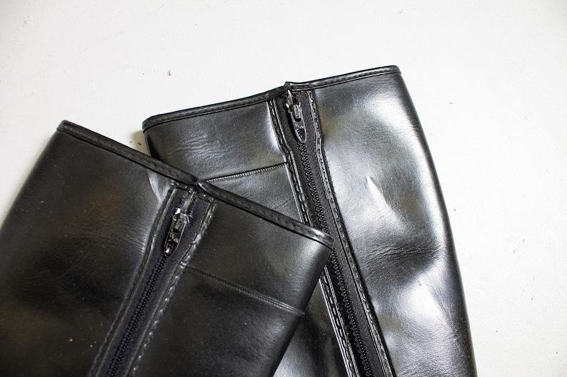 Vintage 1960s Boots Black Rubber Fleece Lined Winter Waterproof Rain Tall Shoes Sz 6