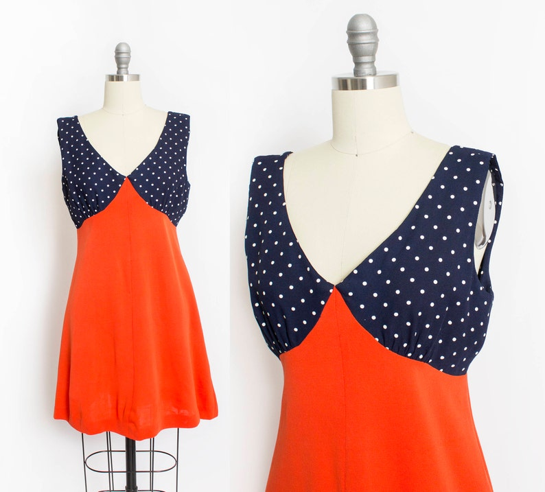 357dd99d8023 Vintage 1960s Dress Navy Polka Dot Coral Knit Mini A-Line | Etsy