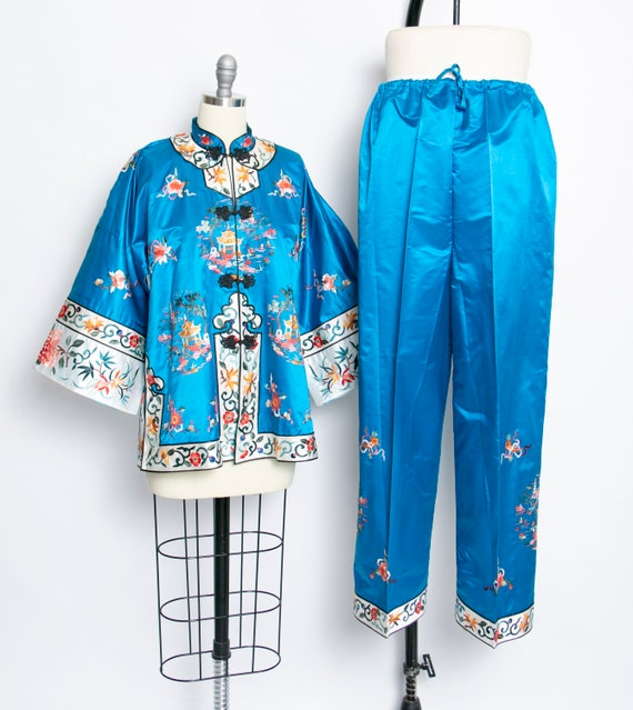 1950s Loungewear Ensemble Chinese Silk Embroidered