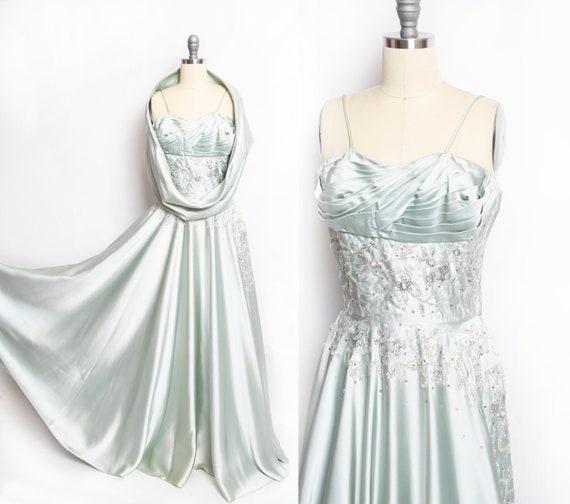 1950s FRANK STARR Dress Full Circle Satin Beaded G