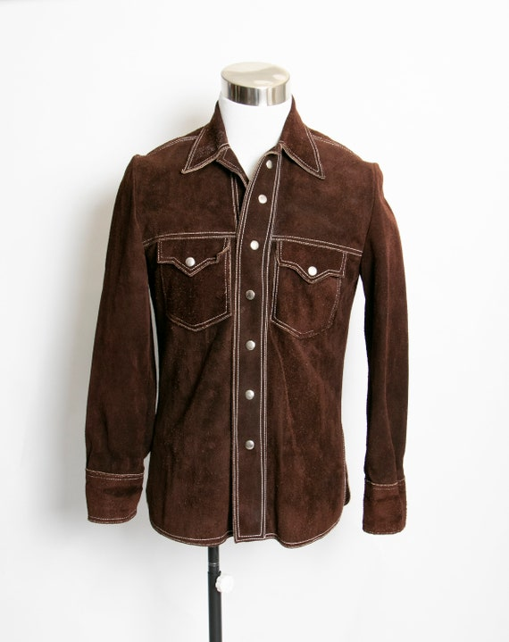 1970s Suede Jacket Brown Suede Leather Shirt 70s M