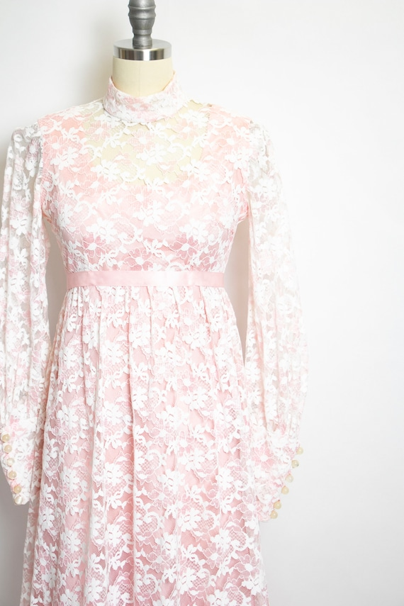 Vintage 1960s Dress Lace Pink Long Sleeve Maxi Go… - image 9