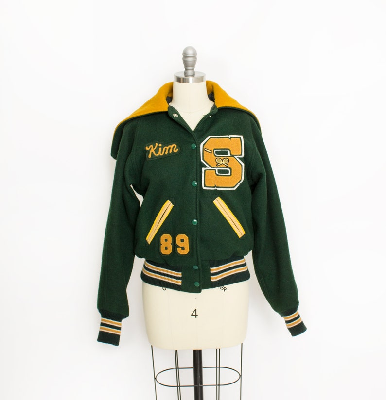 960306b9d39 Vintage 80s Letterman Jacket Green Yellow Wool Cropped