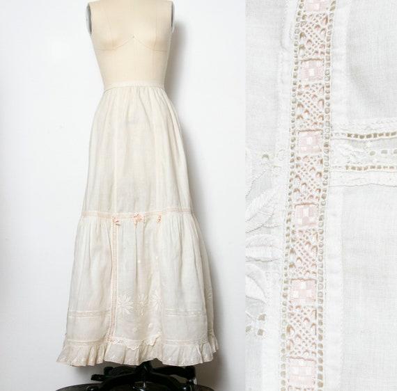 Victorian Antique Skirt Edwardian Cotton Embroide… - image 1