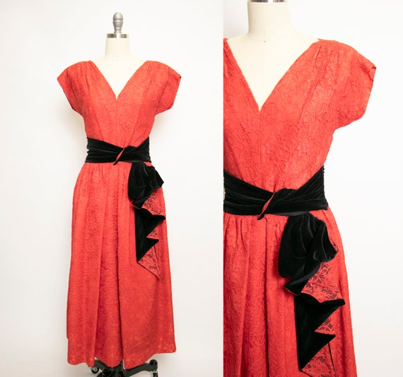 1950s Dress Red Lace Full Skirt Designer Party Sma