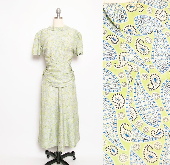 1940s Dress Rayon Green Paisley Medium