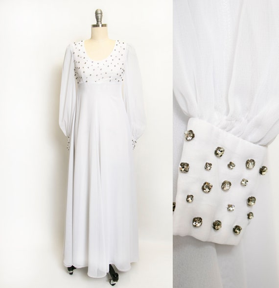1960s Dress White Chiffon Rhinestone Wedding Maxi