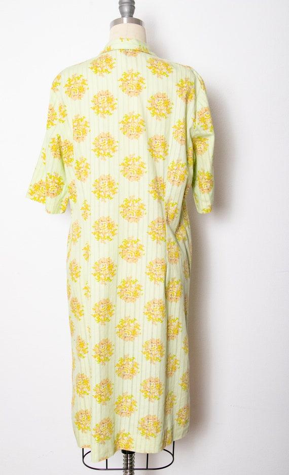 1970s Shirt Dress Green Floral Shift M - image 2