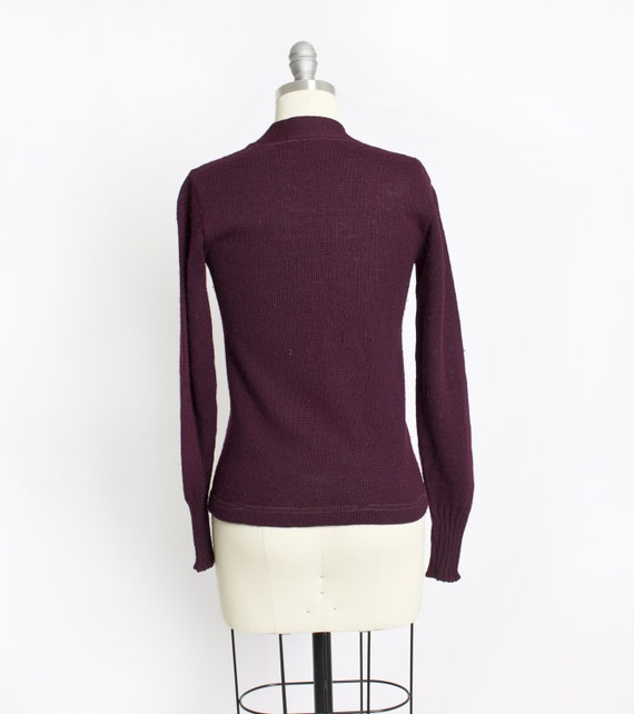 Vintage 50s Varsity Sweater Burgundy Wool Knit Le… - image 5