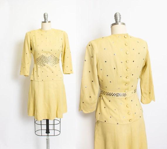 Vintage 1940s Ensemble Studded Yellow Cotton Top S