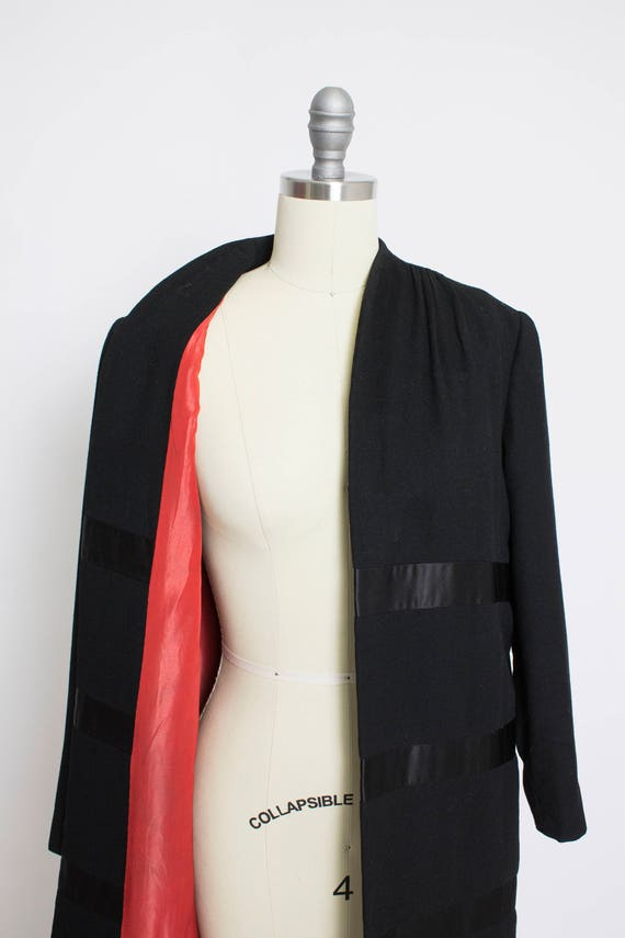 1950s Coat Satin Striped Black Wool Cashmere Small - image 2