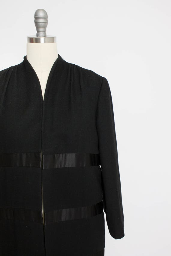 1950s Coat Satin Striped Black Wool Cashmere Small - image 5