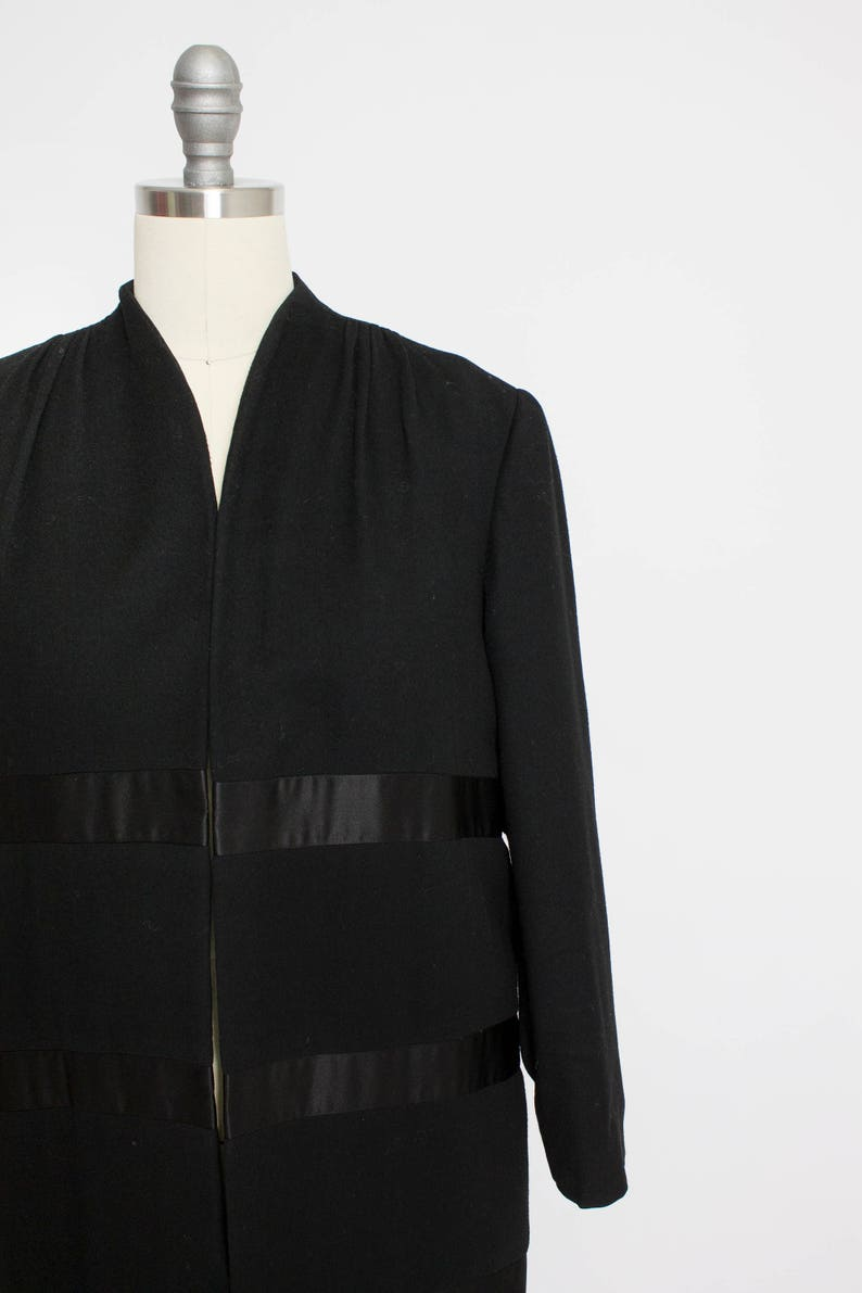 1950s Coat Satin Striped Black Wool Cashmere Small