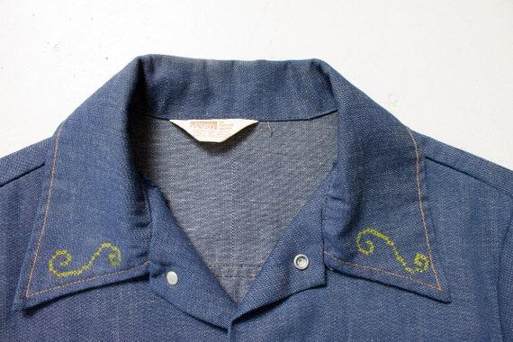 1970s Denim Jacket Embroidered Eagle Blue Lightwe… - image 7